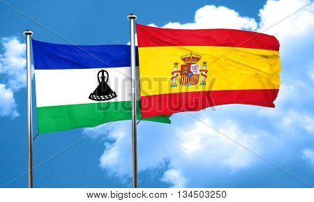 Lesotho flag with Spain flag, 3D rendering