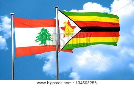 Lebanon flag with Zimbabwe flag, 3D rendering