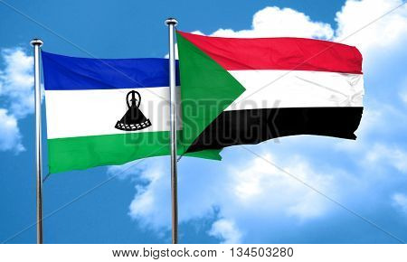 Lesotho flag with Sudan flag, 3D rendering