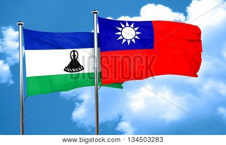 Lesotho flag with Taiwan flag, 3D rendering