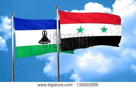 Lesotho flag with Syria flag, 3D rendering
