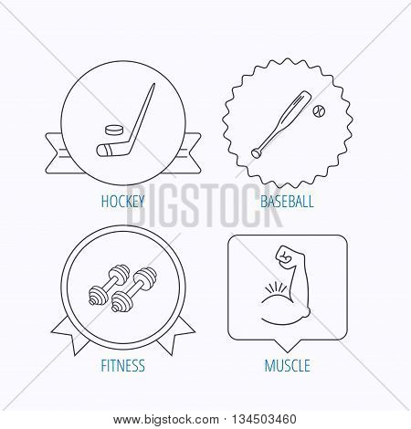 Baseball, ice hockey and fitness sport icons. Muscle linear sign. Award medal, star label and speech bubble designs. Vector
