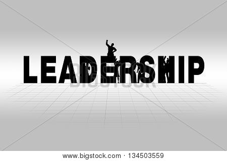 Leadership word communicating business concept of leadership in silhouette.