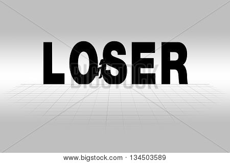 Loser word communicating business concept of loser in silhouette.