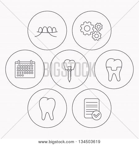Dental implant, floss and tooth icons. Dental crown linear sign. Check file, calendar and cogwheel icons. Vector