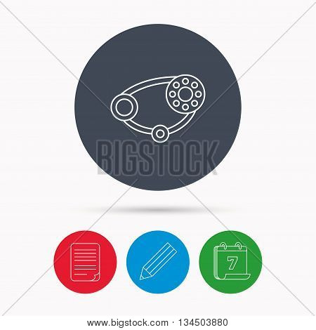 Timing belt icon. Generator strap sign. Repair service symbol. Calendar, pencil or edit and document file signs. Vector