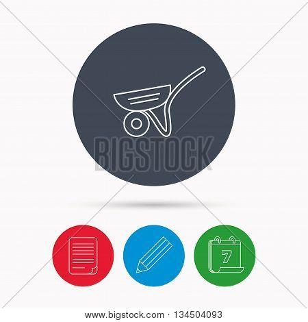 Trolley icon. Garden cart sign. Gardener equipment symbol. Calendar, pencil or edit and document file signs. Vector