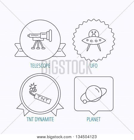 Ufo, planet and telescope icons. TNT dynamite linear sign. Award medal, star label and speech bubble designs. Vector
