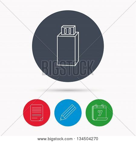 USB drive icon. Flash stick sign. Mobile data storage symbol. Calendar, pencil or edit and document file signs. Vector