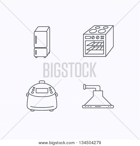 Refrigerator, multicooker and oven icons. Kitchen hood linear sign. Flat linear icons on white background. Vector