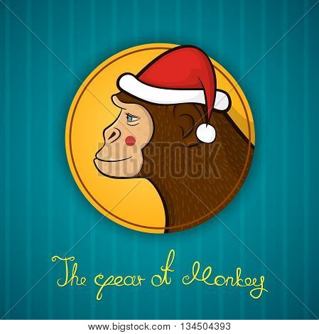 Bright colorful holiday card with a New year, with a monkey in a Santa Claus cap, cartoon character face in profile in the round frame and calligraphy inscription congratulation, vector illustration