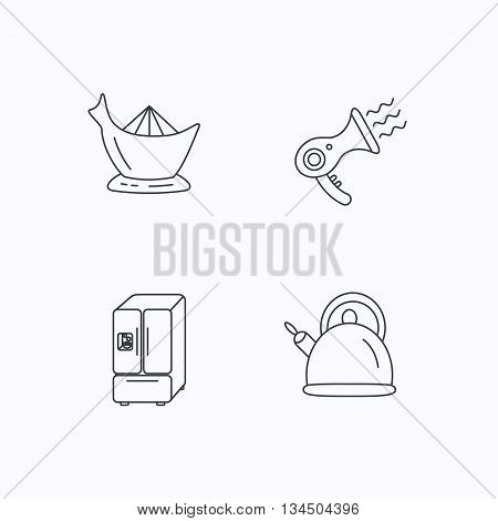 Hair-dryer, teapot and juicer icons. Refrigerator fridge linear sign. Flat linear icons on white background. Vector