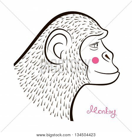 Pencil drawing monkey in hatching equipment, outline cartoon character face in profile and calligraphy inscription, vector illustration in doodle style
