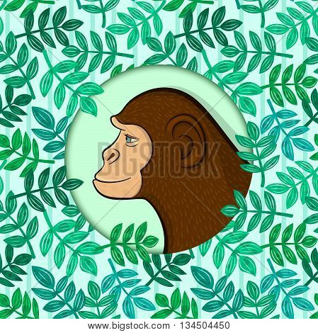 Colorful monkey in circle frame on detailed background with leaves of tropical plants randomly arranged, concept of environmental protection, vector illustration