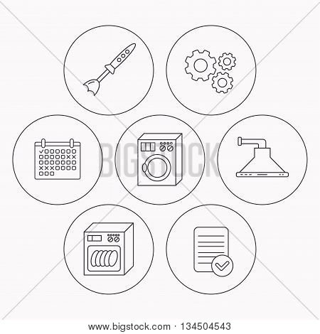 Dishwasher, washing machine and blender icons. Kitchen hood linear sign. Check file, calendar and cogwheel icons. Vector