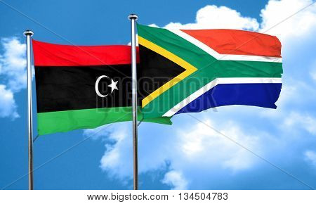 Libya flag with South Africa flag, 3D rendering