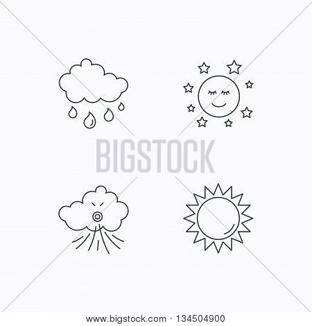 Weather, sun and rain icons. Moon night and wind linear signs. Flat linear icons on white background. Vector