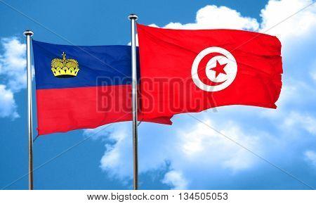 Liechtenstein flag with Tunisia flag, 3D rendering