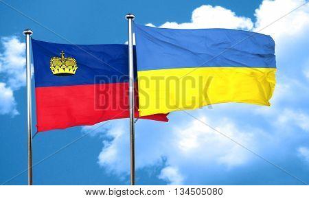 Liechtenstein flag with Ukraine flag, 3D rendering