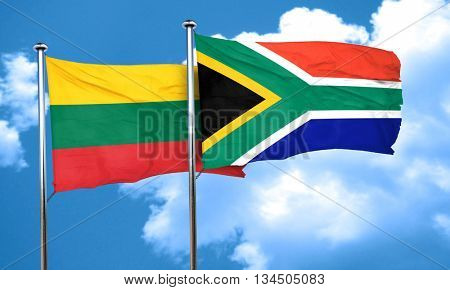 Lithuania flag with South Africa flag, 3D rendering