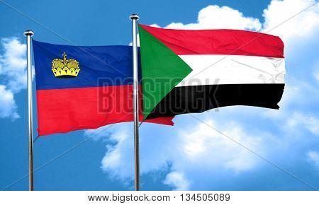 Liechtenstein flag with Sudan flag, 3D rendering