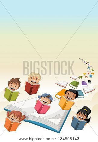 Cute cartoon students children reading books flying in the sky with books