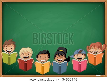Cartoon children reading books over green chalkboard blackboard. Students.