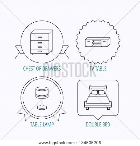 Double bed, table lamp and TV table icons. Chest of drawers linear sign. Award medal, star label and speech bubble designs. Vector