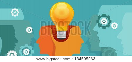 co-creation think work collaboration two heads with one idea vector