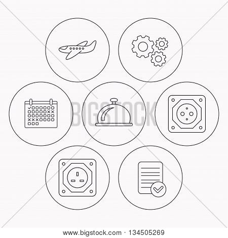 Air-plane, european socket and reception bell icons. UK socket linear sign. Check file, calendar and cogwheel icons. Vector