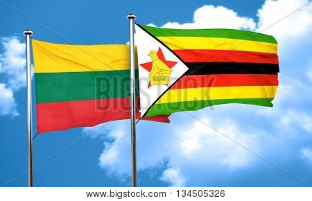 Lithuania flag with Zimbabwe flag, 3D rendering