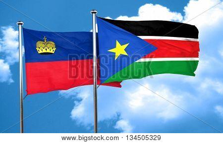 Liechtenstein flag with South Sudan flag, 3D rendering
