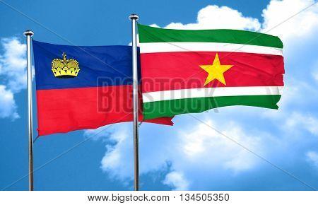Liechtenstein flag with Suriname flag, 3D rendering