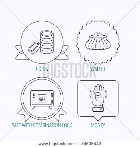 Give money, cash money and wallet icons. Safe box, coins linear signs. Award medal, star label and speech bubble designs. Vector