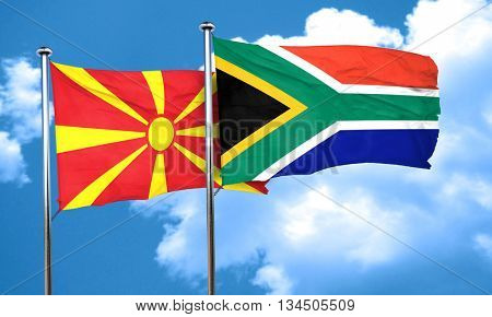 Macedonia flag with South Africa flag, 3D rendering