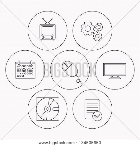 Hard disk, pc mouse and retro tv icons. Widescreen TV linear sign. Check file, calendar and cogwheel icons. Vector