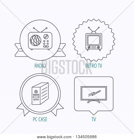Retro TV, radio and PC case icons. Computer linear sign. Award medal, star label and speech bubble designs. Vector