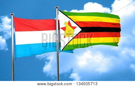 Luxembourg flag with Zimbabwe flag, 3D rendering
