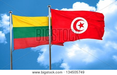 Lithuania flag with Tunisia flag, 3D rendering