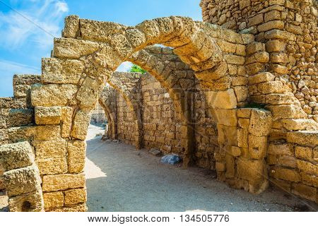 National park Caesarea on the Mediterranean Sea. Israel. Vaulted ceilings of stalls ancient times