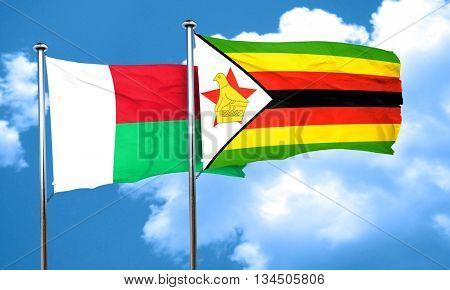 Madagascar flag with Zimbabwe flag, 3D rendering