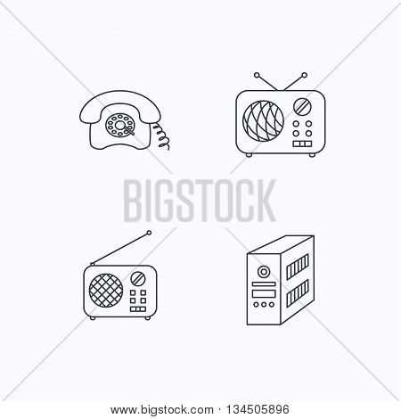 Radio, retro phone and pc case icons. Vintage radio linear sign. Flat linear icons on white background. Vector