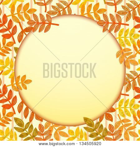 Background with autumn colorful falling leaves and a round frame fo Your text or image, vector illustration