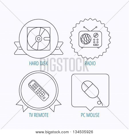 Hard disk, radio and TV remote icons. PC mouse linear sign. Award medal, star label and speech bubble designs. Vector