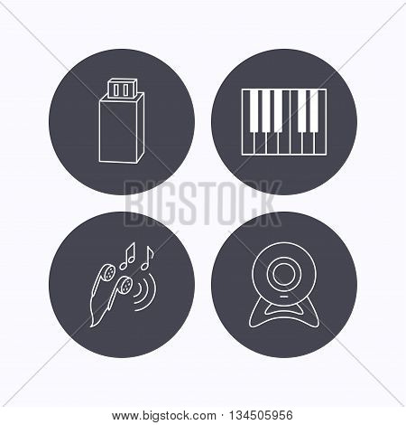Headphones, web camera and USB flash icons. Piano linear sign. Flat icons in circle buttons on white background. Vector