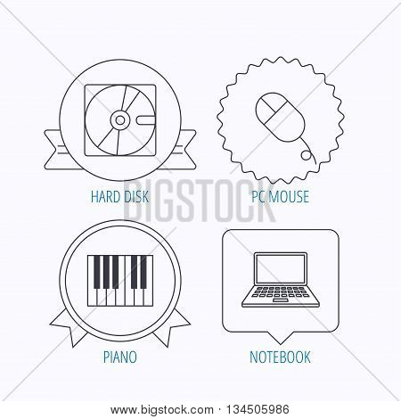 Hard disk, pc mouse and notebook laptop icons. Piano linear sign. Award medal, star label and speech bubble designs. Vector
