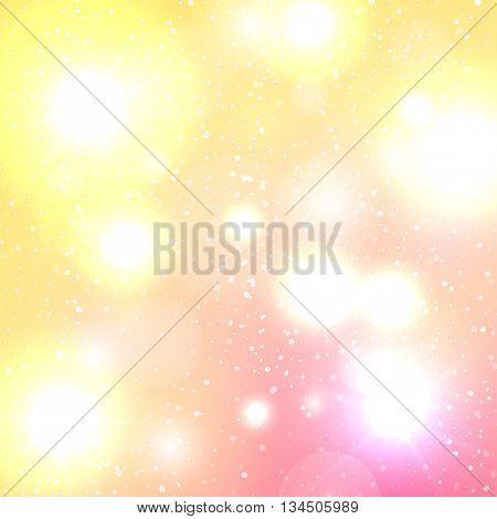 Yellow-pink light background with white bokeh, magical backdrop, holiday greeting card, effect defocused, vector illustration