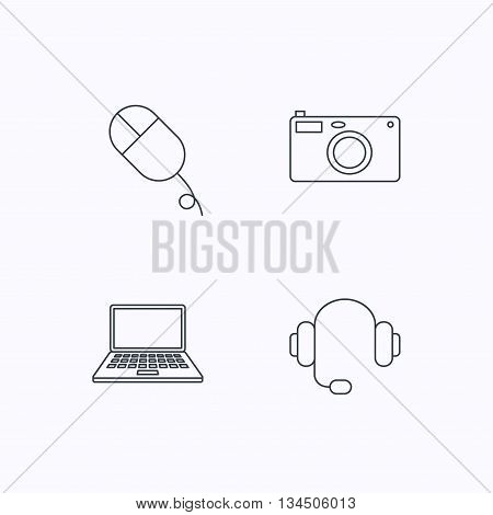 Photo camera, headphones and notebook laptop icons. PC mouse linear sign. Flat linear icons on white background. Vector