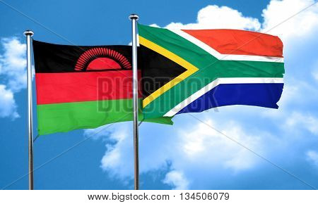 Malawi flag with South Africa flag, 3D rendering