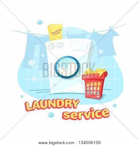 Laundry service concept design, a washing machine and laundry basket, vector illustration